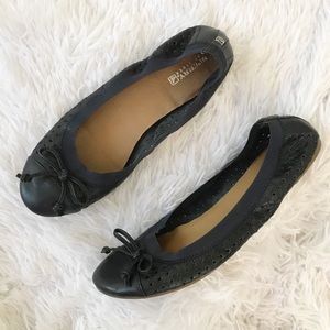 Sperry Navy Perforated Ballet Flats with Bow